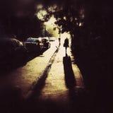 Eenzaam persoonssilhouet Stock Foto