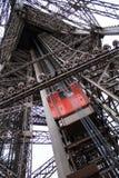 Eiffel tower Paris, red elevator Stock Photos