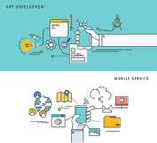 Einfache Linie flaches Design von APP-Entwicklung u. vom beweglichen Service, moderne Vektorillustration Stockfotos