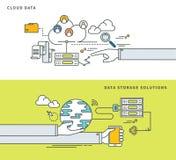 Einfache Linie flaches Design von den Wolkendaten u. von den Datenspeicherungslösungen, moderne Vektorillustration Lizenzfreie Stockbilder