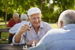 El Active retiró a los mayores, dos viejos hombres que jugaban a ajedrez en el parque Fotografía de archivo libre de regalías