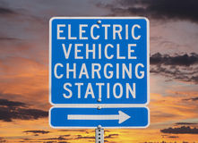 Electric Vehicle Charging Station Sign with Sunset Sky Royalty Free Stock Image