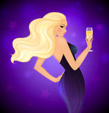 Elegance blond woman with champagne Royalty Free Stock Image