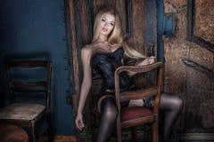 Elegant blonde sexy woman. Stock Photo
