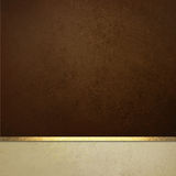 Elegant brown paper background with white border and gold ribbon trim or stripe Stock Image