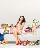 Elegant lady in a place full of fashion accessories Stock Photo