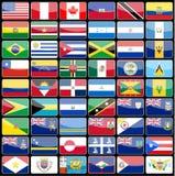 Elementos de bandeiras dos ícones do projeto do continente de América Fotografia de Stock Royalty Free