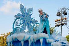 Elsa of Frozen fame on float in Disneyland Parade Royalty Free Stock Image