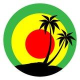 Emblème de reggae avec la silhouette noire de pulms Images libres de droits