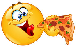Emoticon eating pizza Royalty Free Stock Images