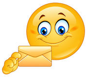 Emoticon with envelope Royalty Free Stock Image