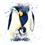 Emperor penguin T-shirt graphics. emperor penguin illustration with splash watercolor textured background. unusual illustration wa Stock Image