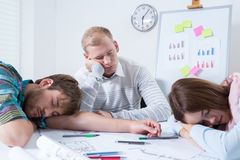 Employees after night at work Royalty Free Stock Image