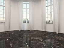 Empty room with marble floor and patio doors Stock Photo