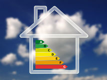 Energy efficiency chart in house against sky background Royalty Free Stock Image