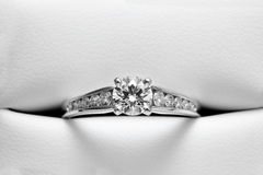 Engagement Ring in Leather casing Stock Images