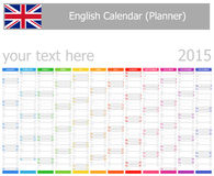 2015 English Planner Calendar with Vertical Months Royalty Free Stock Images