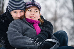 Enjoying the winter together Royalty Free Stock Images