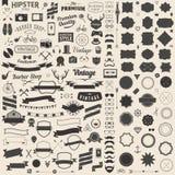 Enormer Satz der Weinlese redete Designhippie-Ikonen an Vector Zeichen und Symbolschablonen für Ihr Design Stockfotos