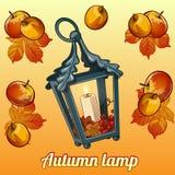 Ensemble d'automne de bougeoir, de feuilles et de pommes Photographie stock libre de droits