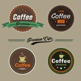 Ensemble de logo d'éléments de café de vecteur et label dans le style de vintage Photographie stock