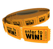 Enter to Win Raffle Ticket Roll Fundraiser Charity Lottery Luck Stock Images