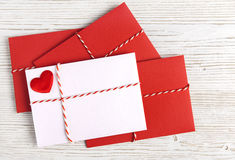 Envelope Mail Red Heart, Valentine Day, Love or Wedding Greeting Concept Royalty Free Stock Photos