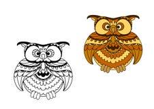 Esboço dos desenhos animados e pássaro da coruja do marrom Fotografia de Stock Royalty Free
