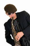 Esecutore di musica, sassofono Fotografia Stock