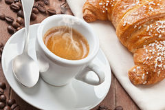 Espresso with croissant Royalty Free Stock Photography