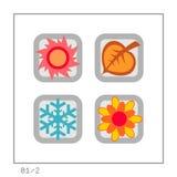 ESTAÇÕES: O ícone ajustou 01 - a versão 2 Imagens de Stock