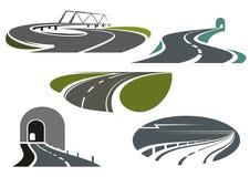 Estrada, estradas, túneis e ícones da ponte Imagens de Stock