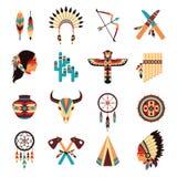 Ethnic american indigenous icons set Royalty Free Stock Photography