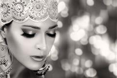 Ethnic Beauty Fashion. Ethnic Woman. Monochrome Portrait Royalty Free Stock Photo