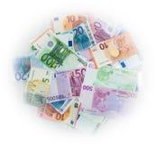 Euro berechnet Eurobanknotengeld Währung der Europäischen Gemeinschaft Lizenzfreie Stockfotos