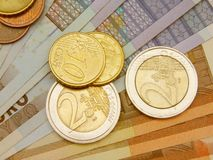 Euro coins and banknotes Stock Images
