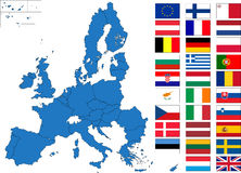 European Union map with flags Royalty Free Stock Photos
