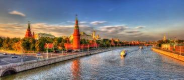 Evening panorama of Moscow Kremlin Stock Photos
