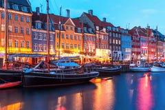 Evening scenery of Nyhavn in Copenhagen, Denmark Stock Images