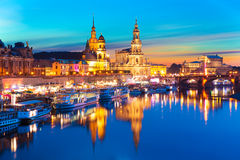 Evening scenery of the Old Town in Dresden, Germany Stock Photography