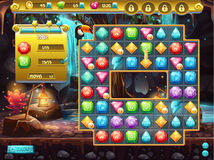 Example of the user interface and the playing field for a computer game three in a row. treasure hunt Stock Photo