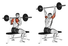 Exercising. Press of a bar because of the head sit Royalty Free Stock Photography