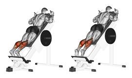 Exercising. Rise on toes standing in simulator Stock Photo