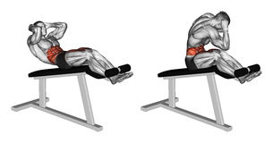 Exercising. Twisting to turn on the Roman chair Royalty Free Stock Images