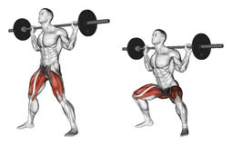 Exercising. Wide squats on his shoulders Stock Photos
