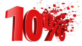 Explosive 10 percent off on white background Stock Image
