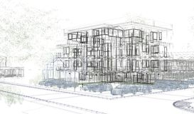 Exterior building wireframes, design rendering, architecture Stock Image