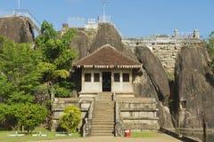 Exterior of the entrance to the Isurumuniya rock temple in Anuradhapura, Sri Lanka. Royalty Free Stock Photography