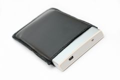 External portable hard disk in leather casing Stock Photos