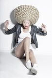 Extravagance. Eccentric Blonde Hair Model with Fantastic Updo Co Royalty Free Stock Image